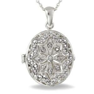 "18"" Diamond Accent Filigree Locket Necklace"